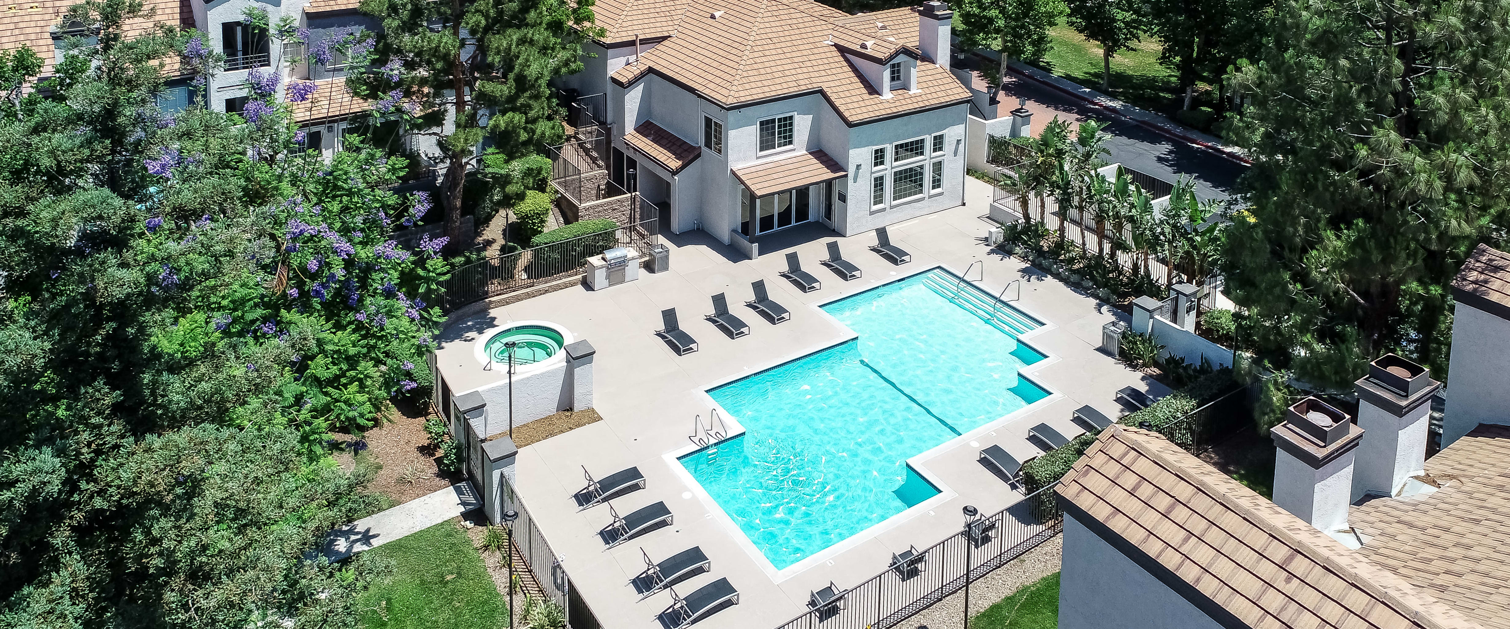 Photos of Sierra Heights Apartments featuring beautiful landscaping in Rancho Cucamonga, California