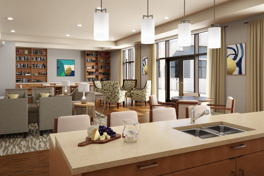 Resident lounge with kitchenette at Anthology of Mayfield Heights - OPENING 2020 in Mayfield Heights, Ohio