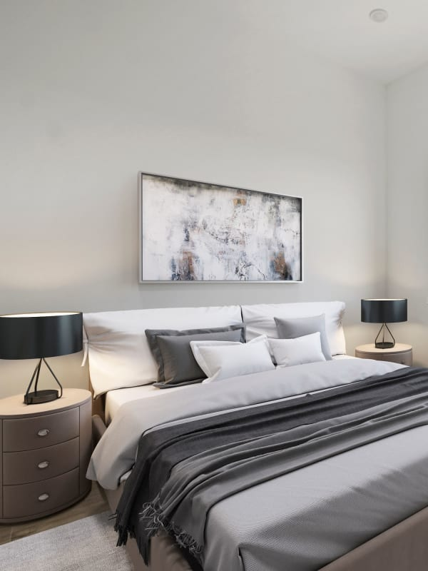Bright bedroom at The Aeronaut in Weymouth, Massachusetts