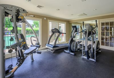 Fitness center with individual work stations at The Hamilton in Hendersonville, Tennessee