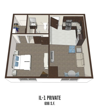 Independent living private room 1 is 696 square feet at Smith's Mill Health Campus in New Albany, Ohio.
