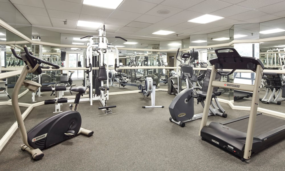 Fully equipped fitness center at The Waterford Tower in Mississauga, Ontario