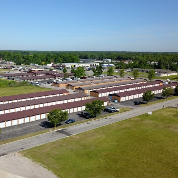 An aerial view on a sunny day of the self storage units at StayLock Storage in Fort Wayne, Indiana