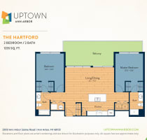 The Hartford floor plan image at Uptown Ann Arbor in Ann Arbor, Michigan
