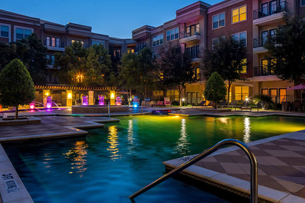 Night view of pool Addison Keller Springs in Addison, Texas.