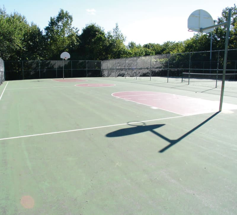 Outdoor basketball court at The Heights At Marlborough in Marlborough, Massachusetts