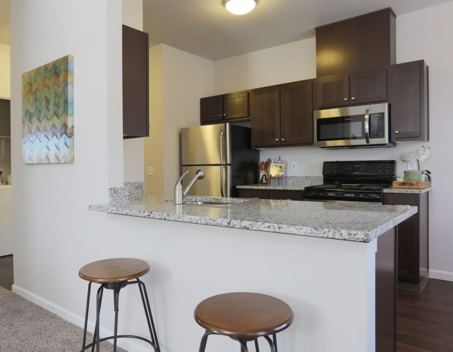 Fully equipped kitchen at The Fairway Apartments home in Salem, Oregon