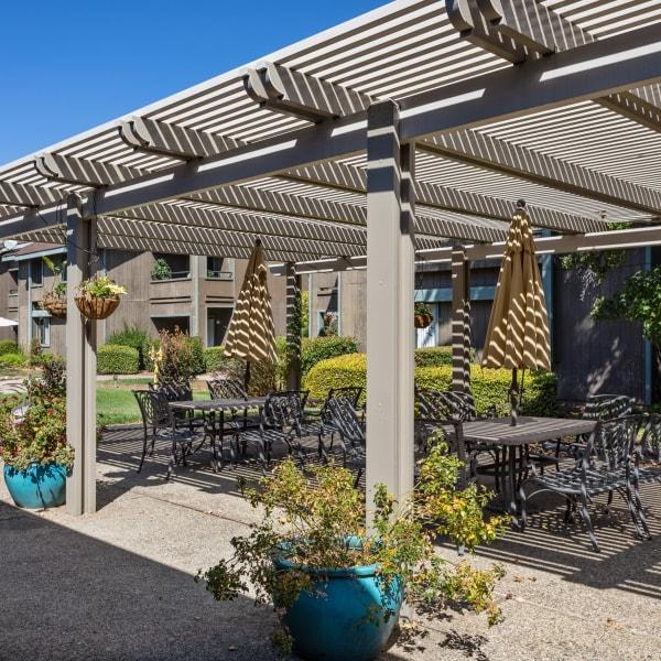 Patio seating at The Atrium at Carmichael in Carmichael, California