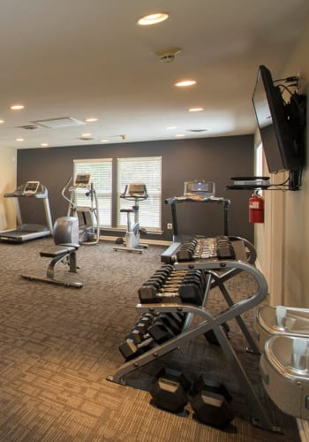 Partial view of the fitness center at Park Villas Apartments in Lexington Park, Maryland
