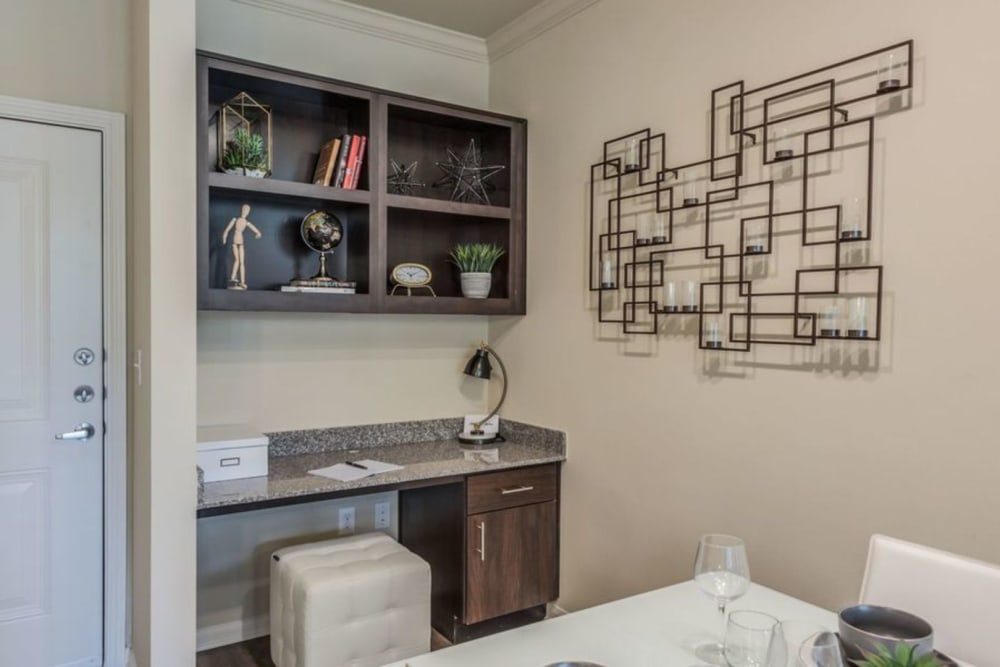 Built-in desk and shelves for a home office in a model apartment home at Heights West 11th in Houston, Texas