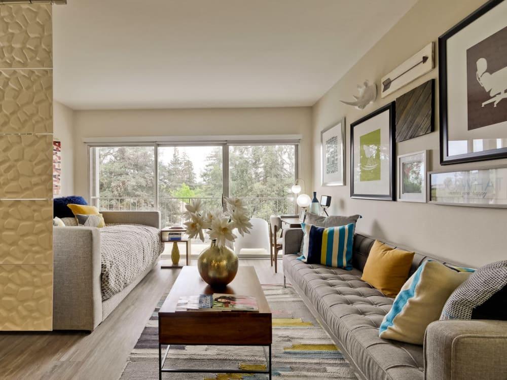 Model studio apartment home's well-decorated living area at Mia in Palo Alto, California