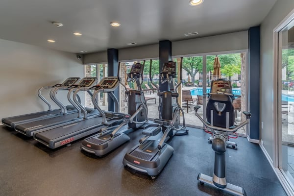 Fully equipped gym with full sized windows at Lakeside Apartments in Lisle, Illinois