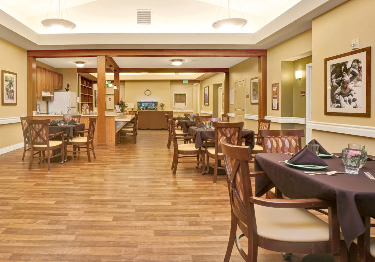 Dining room tables at Seven Lakes Memory Care in Loveland, Colorado