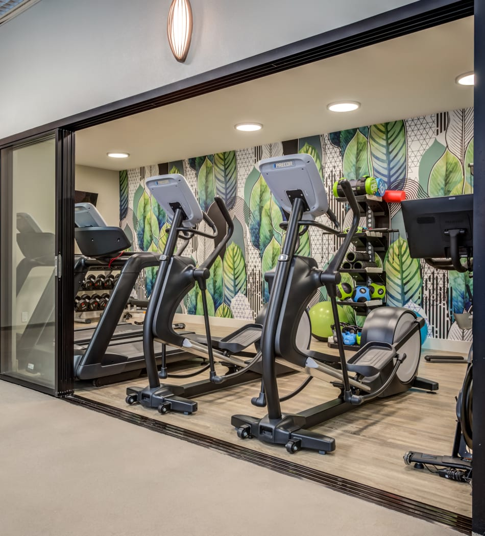 Modern fitness center with cardio machines and free weights at Vue Los Feliz in Los Angeles, California