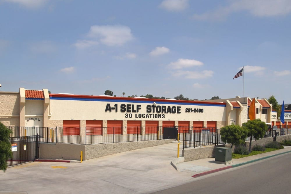 A-1 Self Storage viewed from the street in San Diego, California