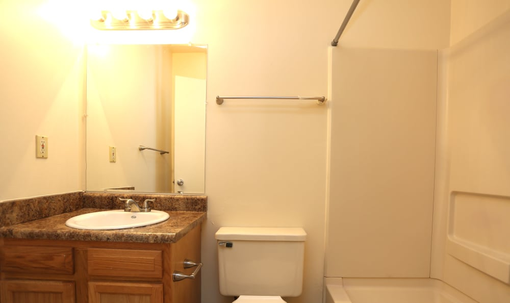 Bright bathroom in model home at Willow Oaks Apartments in Chesapeake, Virginia