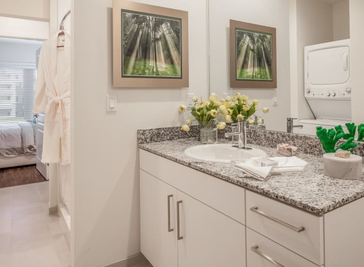 Bright and well-decorated bathroom with a granite countertop in a model resident home at All Seasons Ann Arbor in Ann Arbor, Michigan