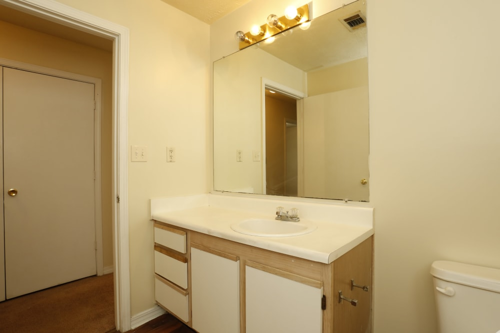 Bright bathroom at Summer Park Apartments in Jackson, Mississippi
