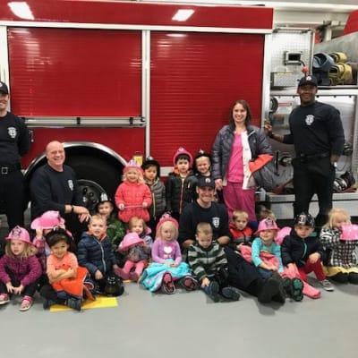 Kids at a fire station near Ebenezer Ridges Campus in Burnsville, Minnesota