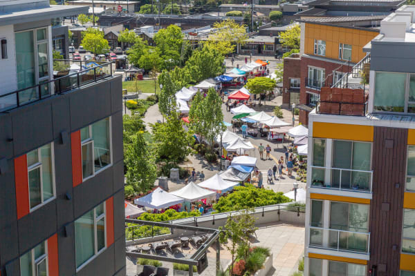 Aerial view of the Burien Saturday Market from The Maverick