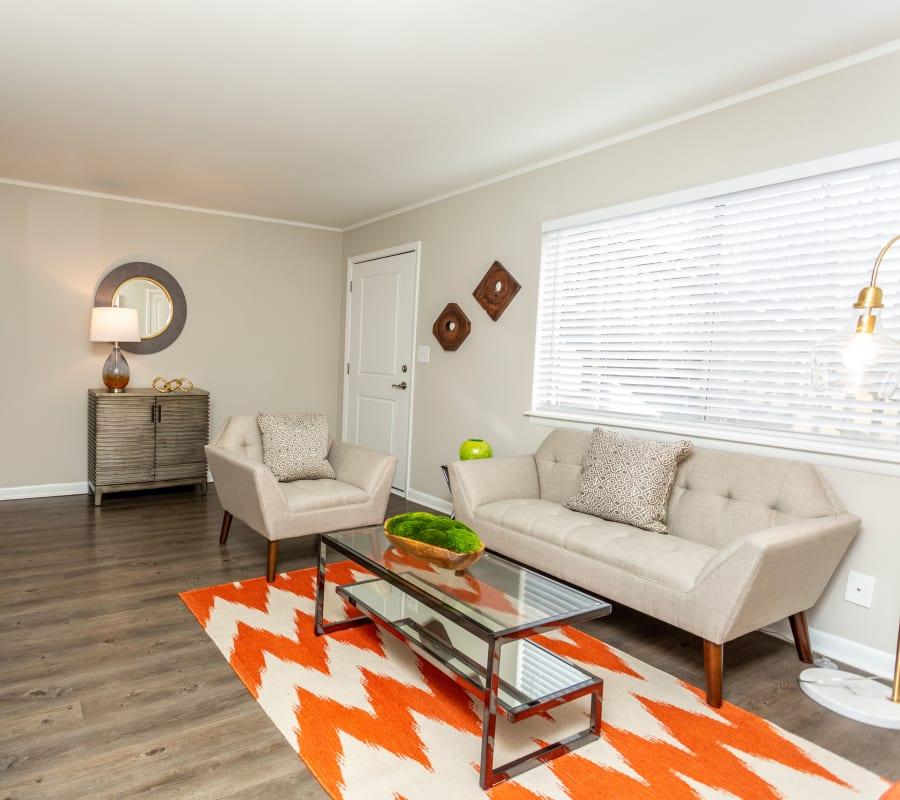 An apartment living room at Beckett Park in Smyrna, Georgia