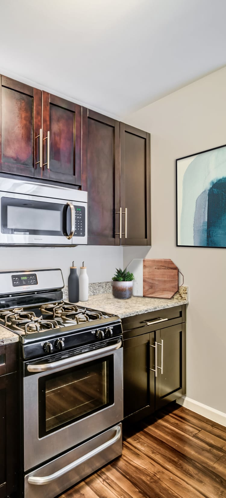 Modern kitchen with sleek, stainless-steel appliances in a model home at Sofi Gaslight Commons in South Orange, New Jersey
