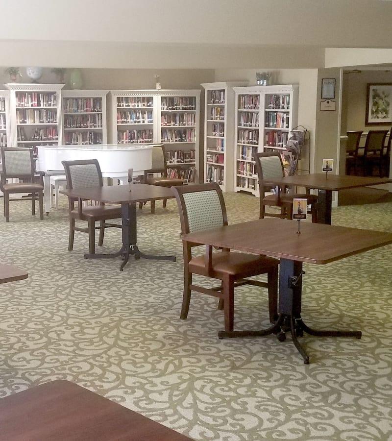Lobby area at Pacifica Senior Living Menifee in Sun City, California