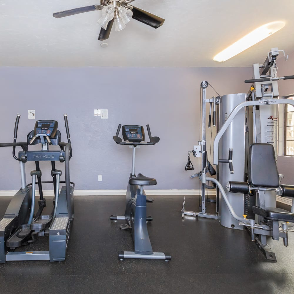 Equipment in the fitness center at Verde Apartments in Tucson, Arizona