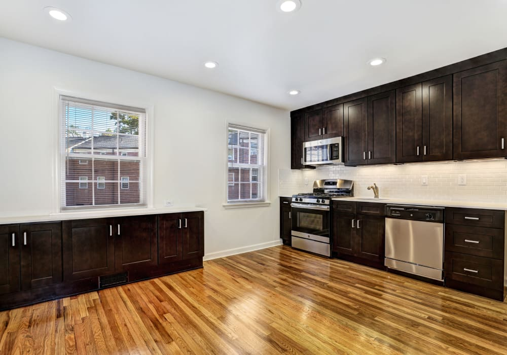 Expansive open-concept kitchen area at General Wayne Townhomes and Ridgedale Gardens in Madison, New Jersey