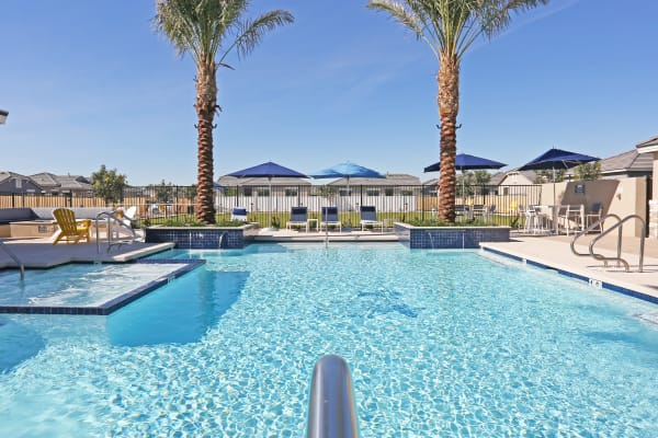 Heated community pool and spa at Christopher Todd Communities At Estrella Commons in Goodyear, Arizona