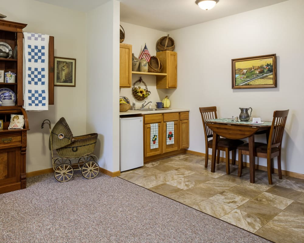 Resident apartment with a kitchenette at Glenwood Place in Marshalltown, Iowa.