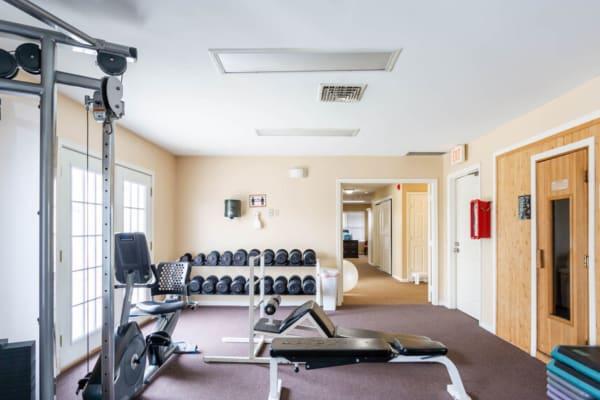 Fitness center and sauna at Bennington Hills Apartments in West Henrietta, New York