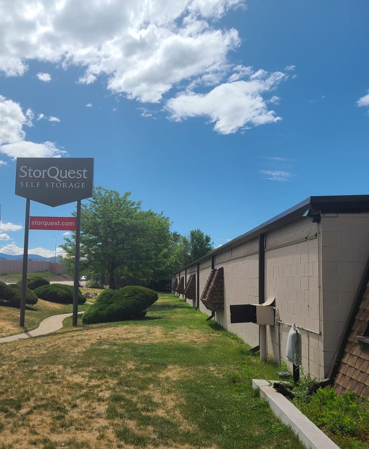 Branding and signage in front of StorQuest Self Storage in Arvada, Colorado