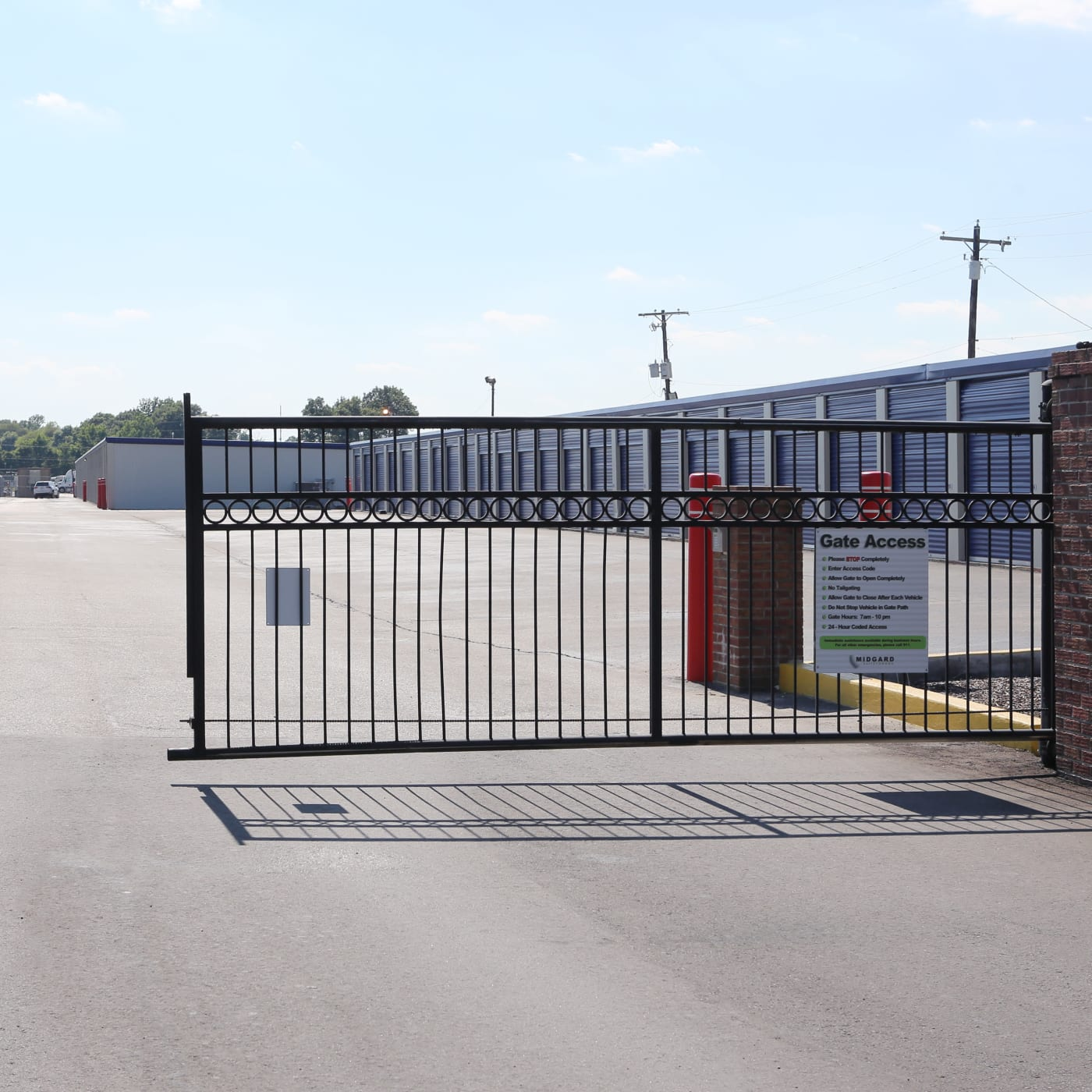 Security gate to Midgard Self Storage in Jackson, Tennessee