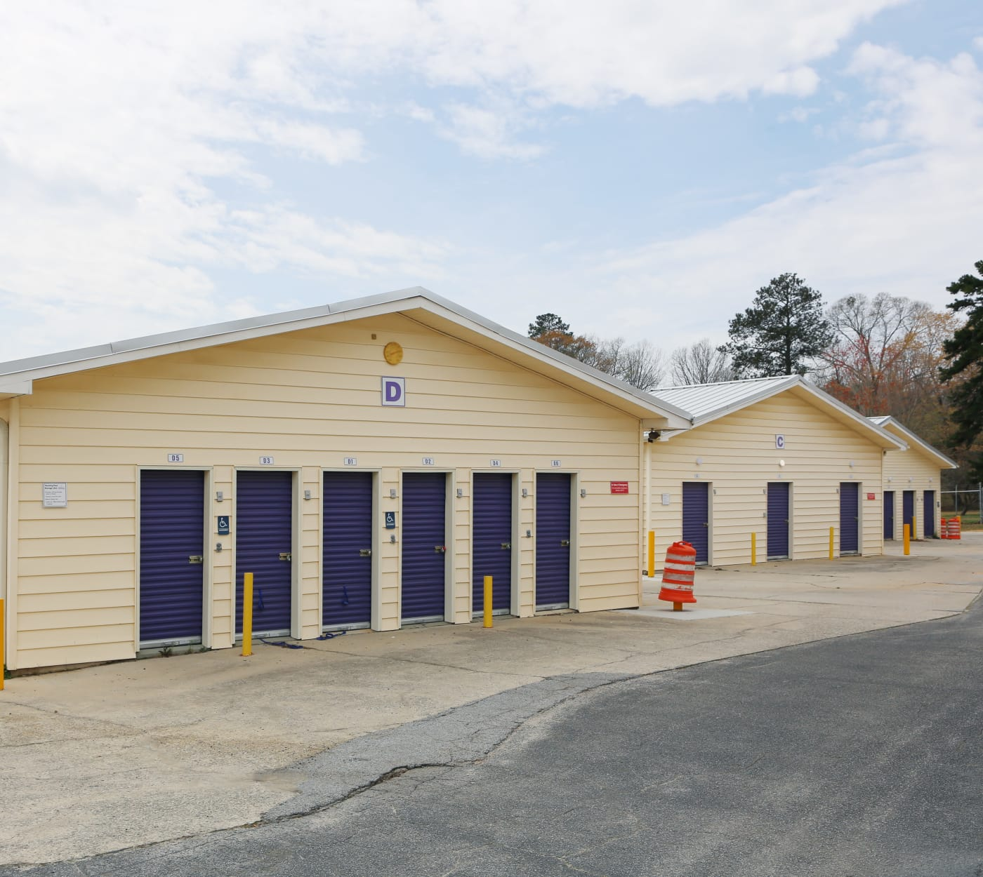 Ground-floor units at StoreSmart Self-Storage in Fayetteville, Georgia