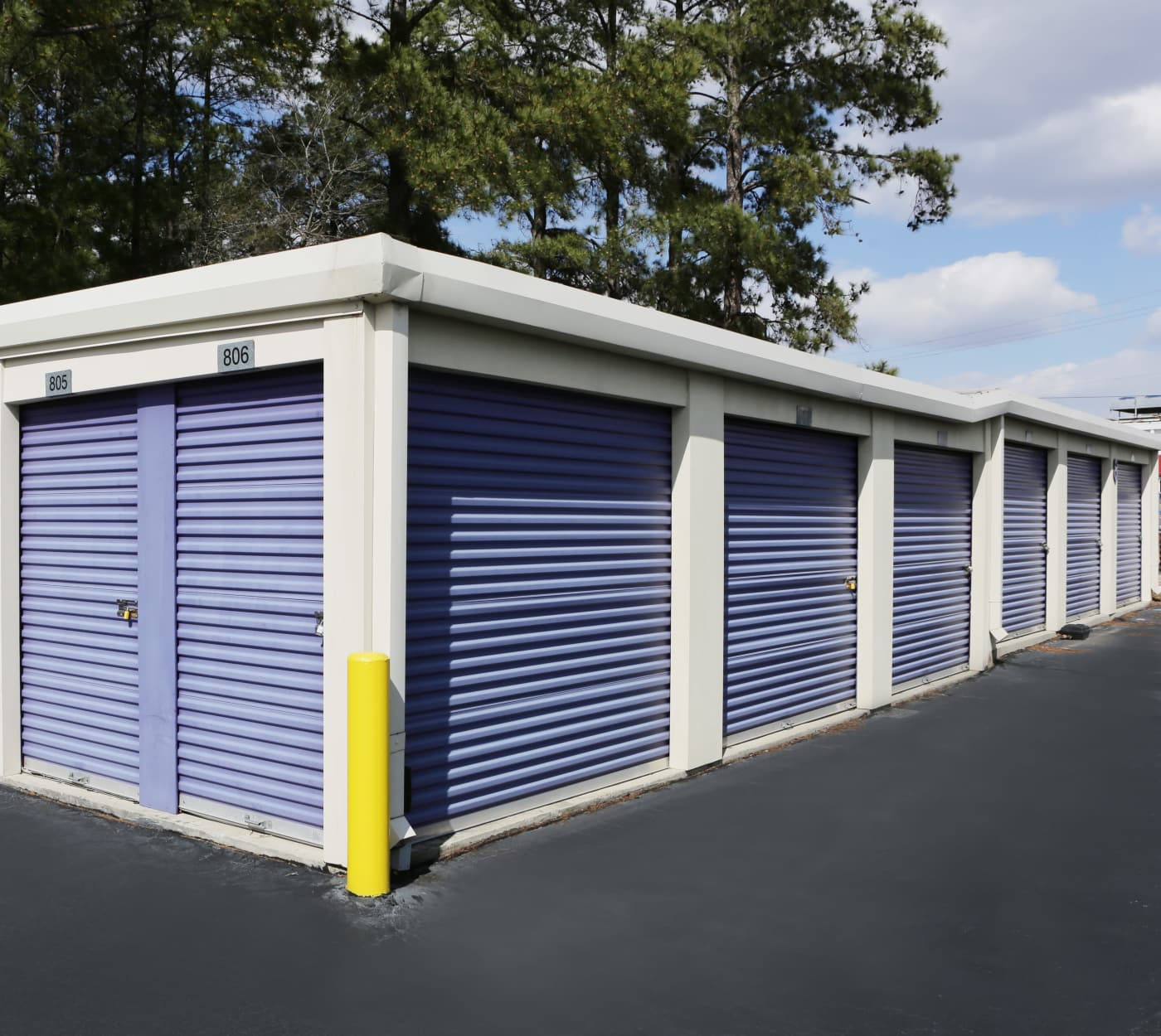 Ground-floor units at StoreSmart Self-Storage in Fayetteville, North Carolina
