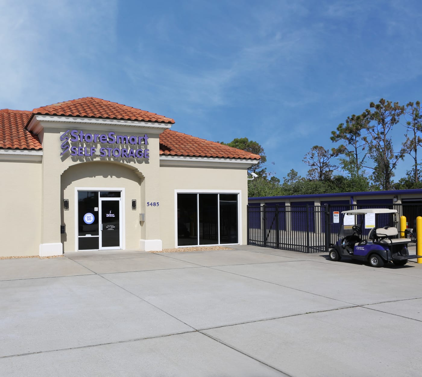 Entrance gate at StoreSmart Self-Storage in Rockledge, Florida