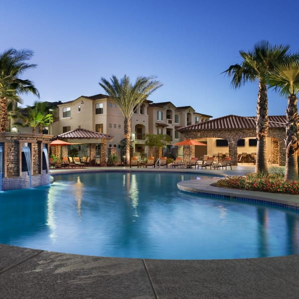Stunning swimming pool area at San Sonoma in Tempe, Arizona