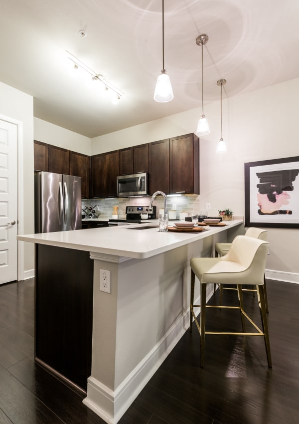 Kitchen with a kitchen island at Marq 31 in Houston, Texas