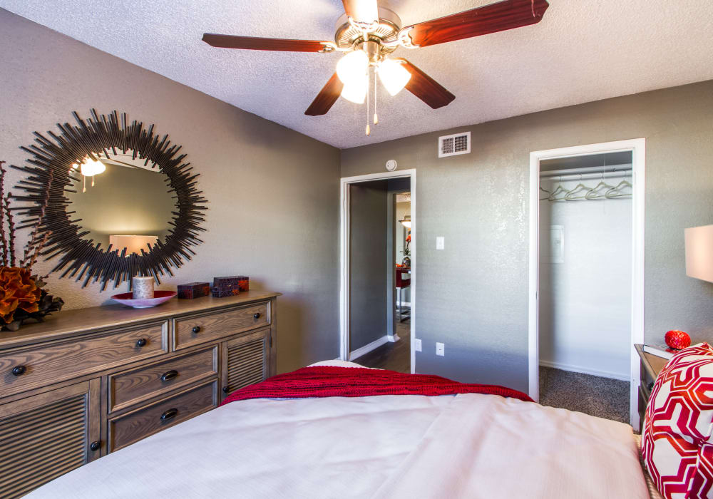 Modern bedroom at Sausalito Apartments in College Station, Texas