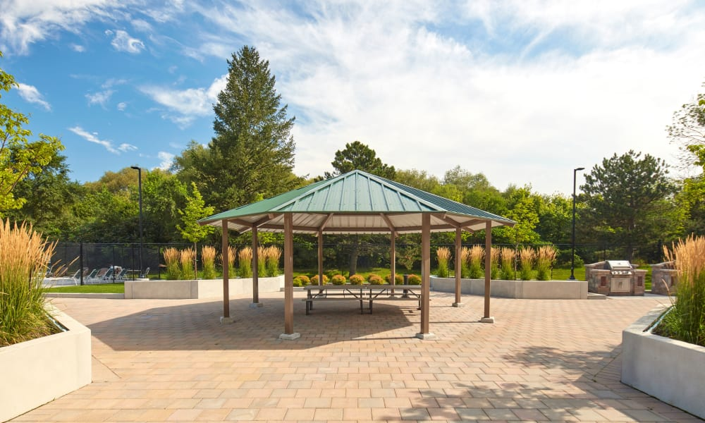 Shaded outdoor seating at Applewood on the Park in Mississauga, Ontario