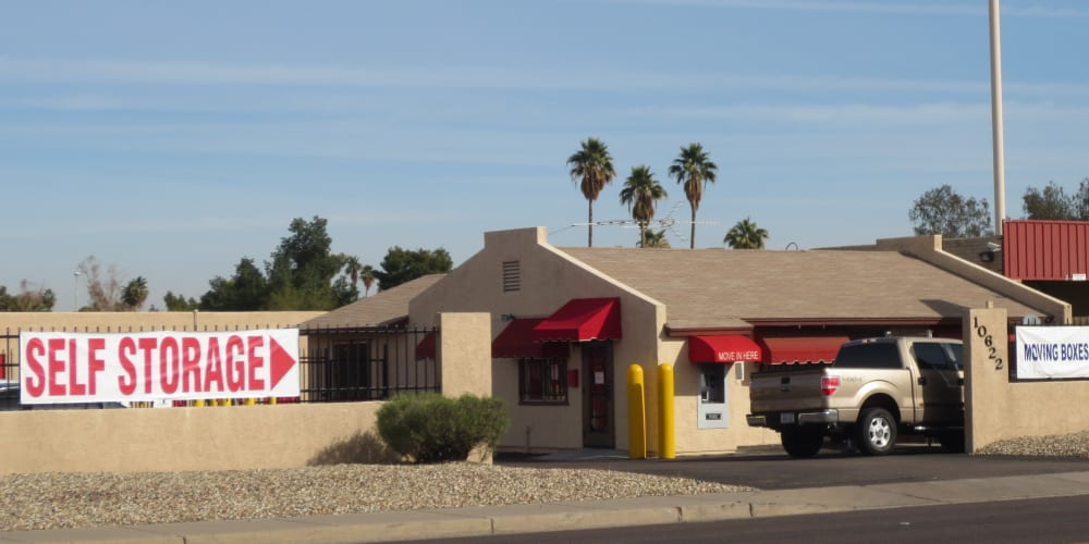 Exterior of the main entrance at StorQuest Self Storage in Phoenix, Arizona