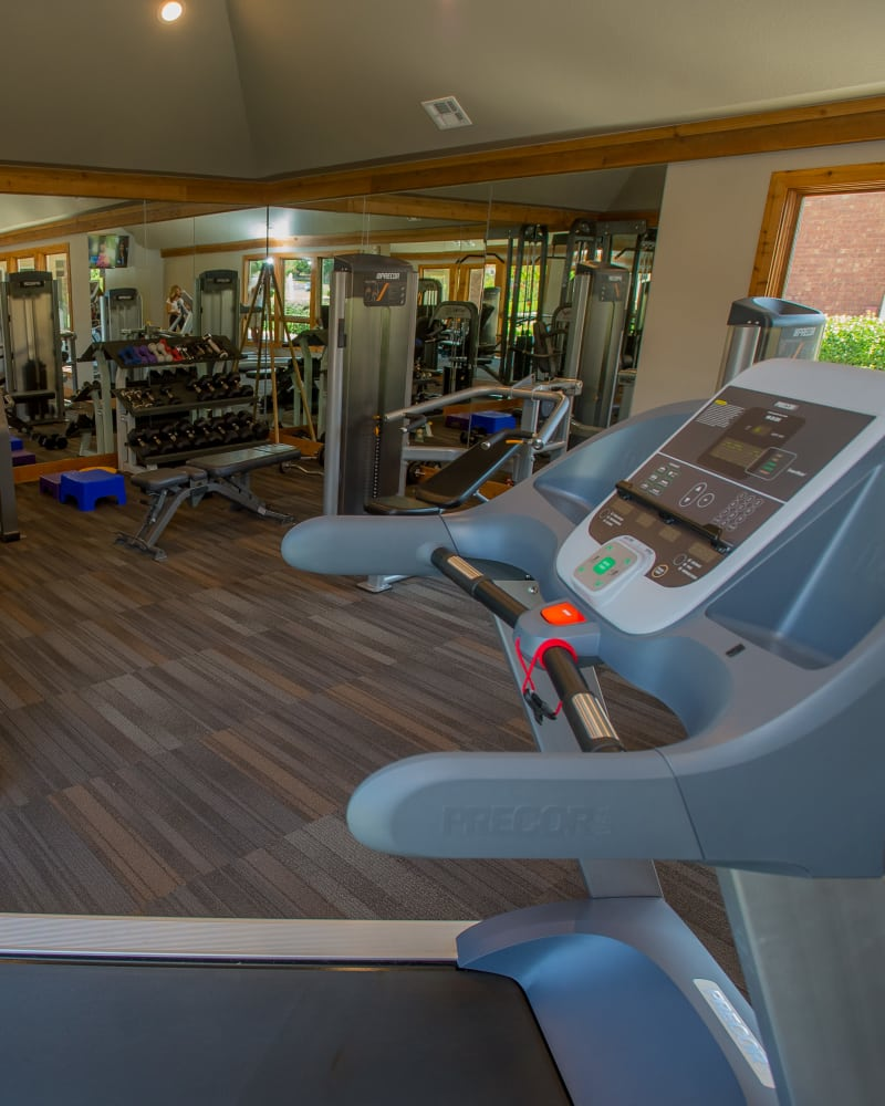 Fitness center at Sheridan Pond in Tulsa, Oklahoma