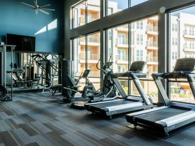Well-equipped and recently renovated onsite fitness center at Shelby at Northside in Fort Worth, Texas