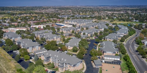 Aerial view of Hawthorne Hill Apartments in Thornton, Colorado