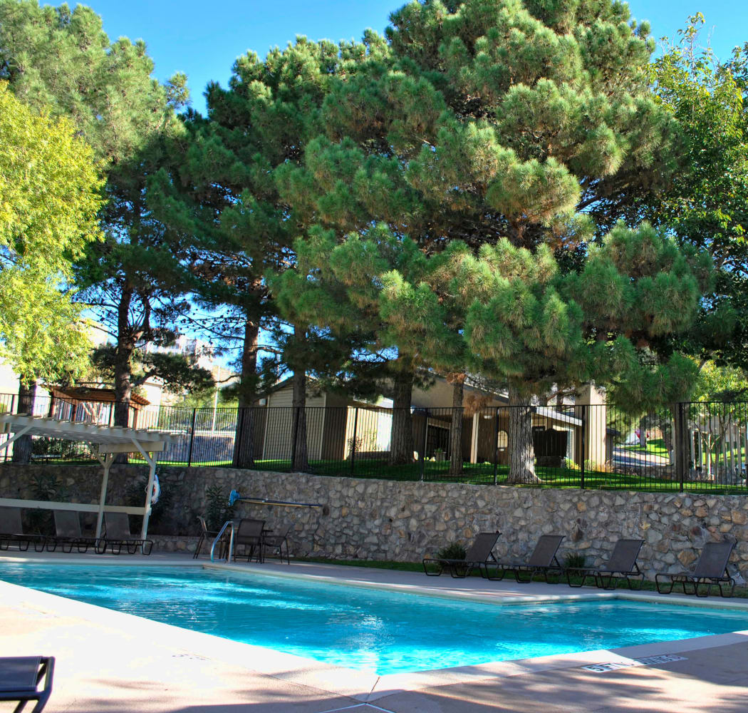 Sparkling swimming pool at Double Tree Apartments in El Paso, Texas
