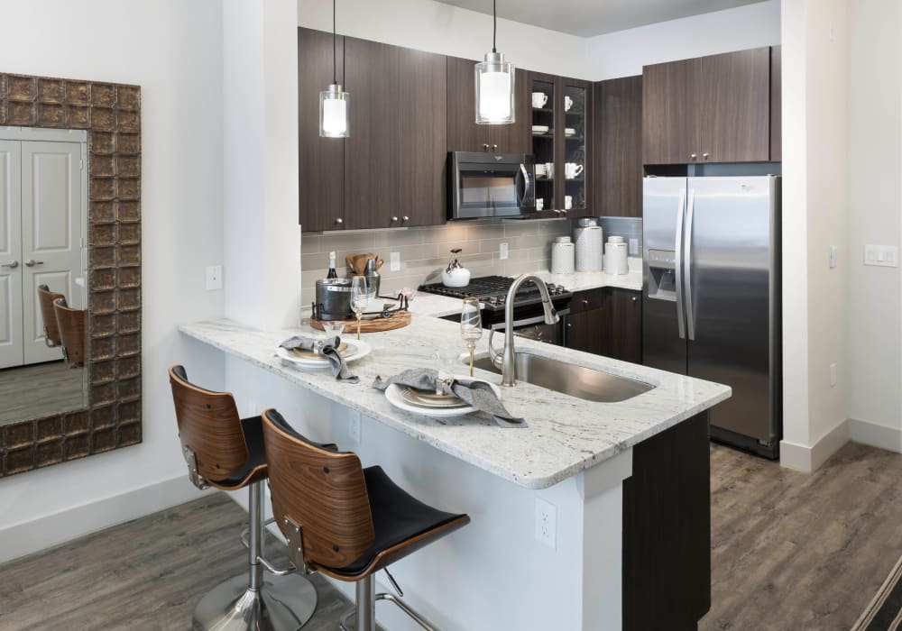 Enjoy a luxury kitchen at Axis 110 in Richardson, Texas