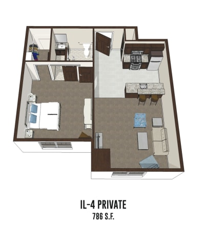 Independent living private room 4 is 786 square feet at Hilliard in Hilliard, Ohio.
