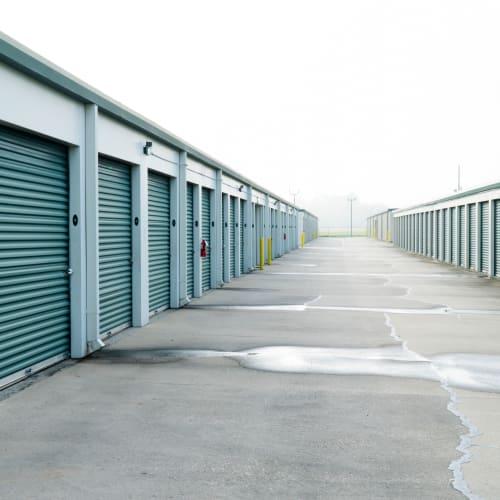 Outdoor storage units with green doors Red Dot Storage in Port Allen, Louisiana