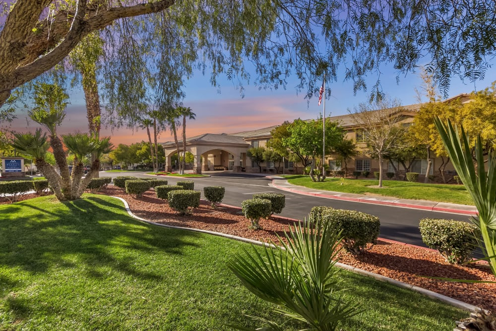 Driveway to Merrill Gardens at Siena Hills in Henderson, Nevada.